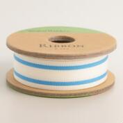 Neon Blue Ticking Stripe Ribbon