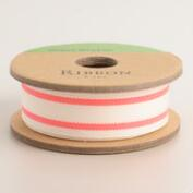 Neon Orange Ticking Stripe Ribbon