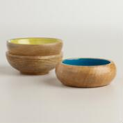 Enameled Wood Salt Pinch Bowls, Set of 3