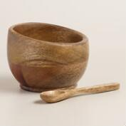 Mango Wood Open Salt Cellar with Spoon