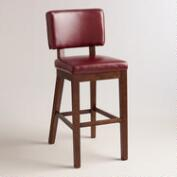 Red Bonded Leather Sophia Barstools, Set of 2