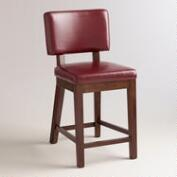 Red Bonded Leather Sophia Counter Stools, Set of 2