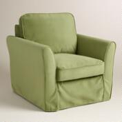 Oregano Green Velvet Loose-Fit Luxe Chair Slipcover