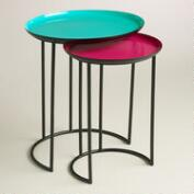Turquoise and Fuchsia Priya Nesting Tables, Set of 2