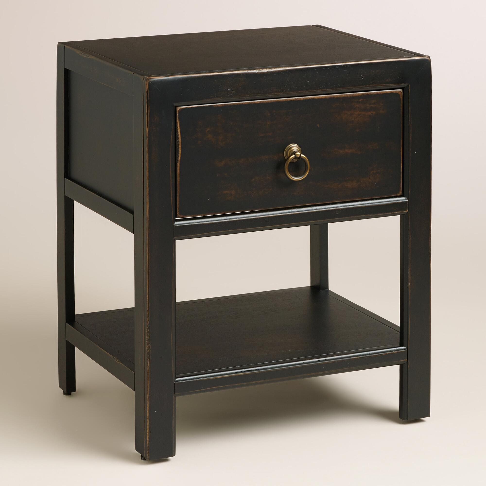 antique black wood ovid nightstand world market ForBlack Wood Nightstand