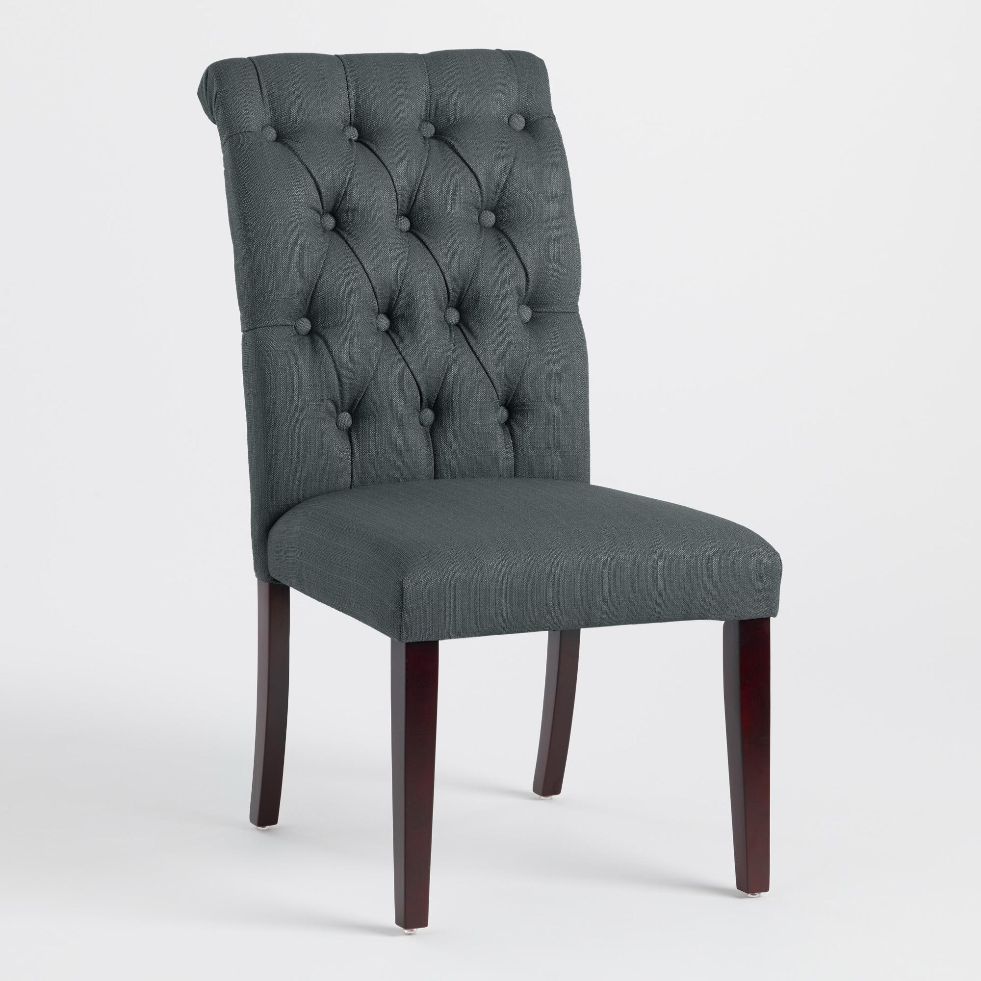 grey tufted dining room chairs