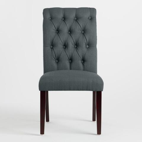 charcoal gray tufted harper dining chairs set of 2 world market