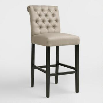 Tan Tufted Harper Barstools, Set of 2