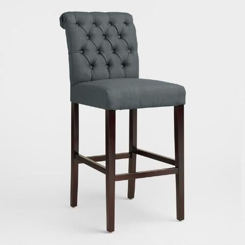 Charcoal Gray Tufted Harper Barstools, Set of 2
