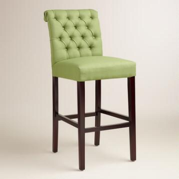 Fern Green Tufted Harper Barstools, Set of 2