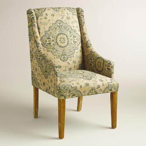 Yellow and Gray Medallion Jayda Dining Chair