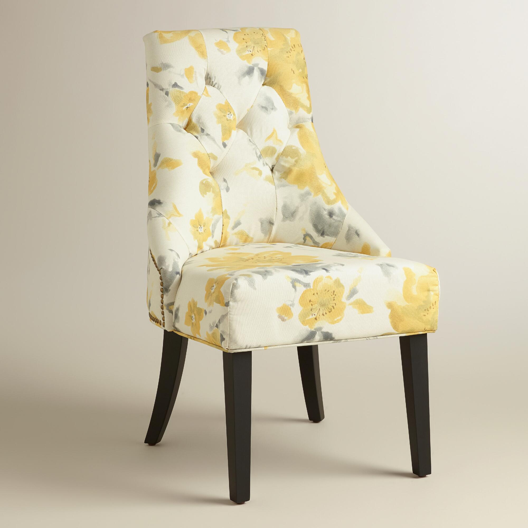 Yellow floral tufted lydia dining chairs set of 2 world for Modern yellow dining chairs