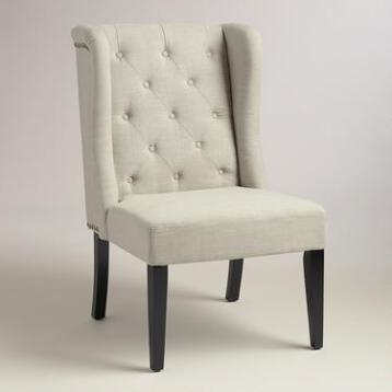 Natural Linen Tufted Delilah Wingback Chair