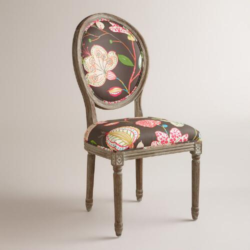 Brown Floral Paige Round Back Dining Chairs, Set of 2
