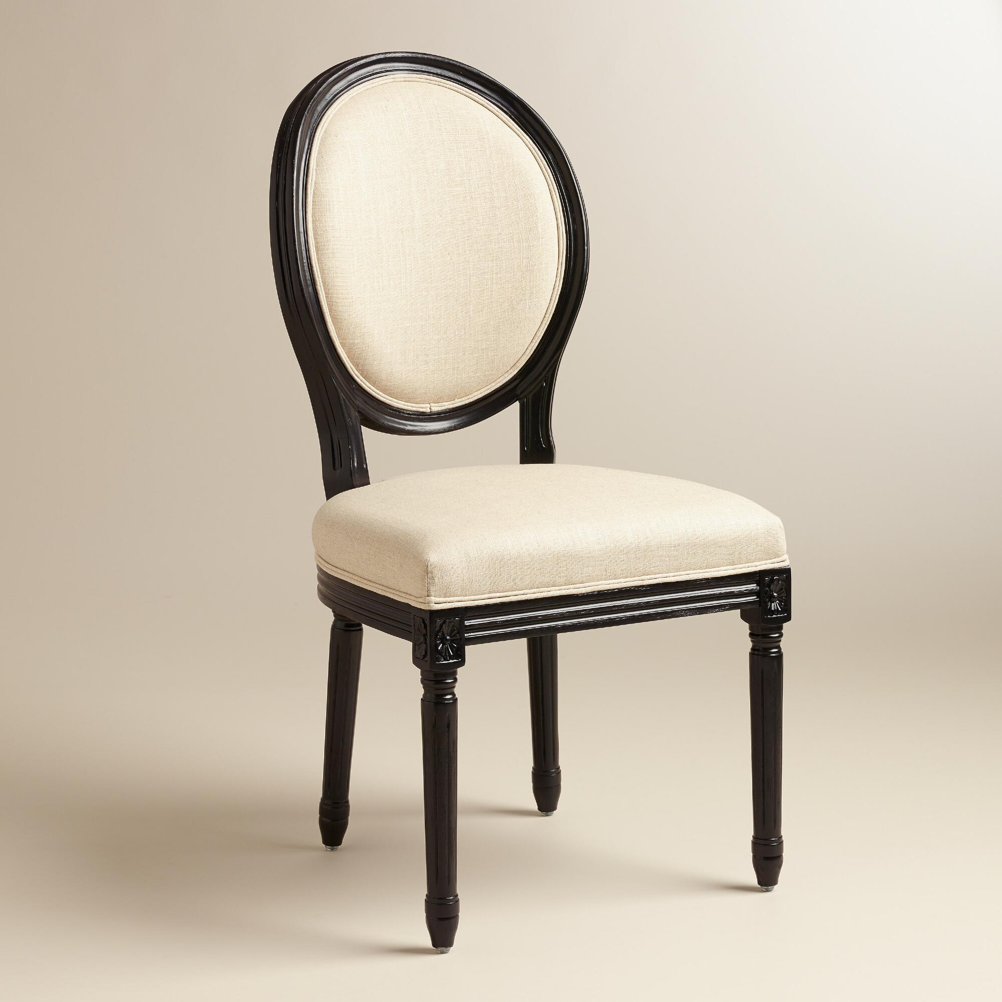 Round Back Dining Room Chairs: Natural Linen Paige Round Back Black Frame Chairs, Set Of
