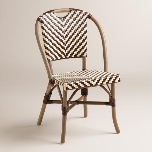 Brown and Cream Clarabella Cafe Chairs, Set of 2
