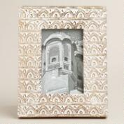 White Carved Wood Aaliyah Frame