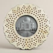 White Round Pierced Bone Ashlyn Frame