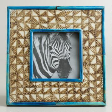 Blue Hand-Painted Wood Disha Frame