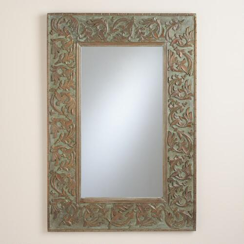 Antique Green Carved Hailey Mirror