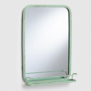 Aqua Josie Bath Mirror with Tray