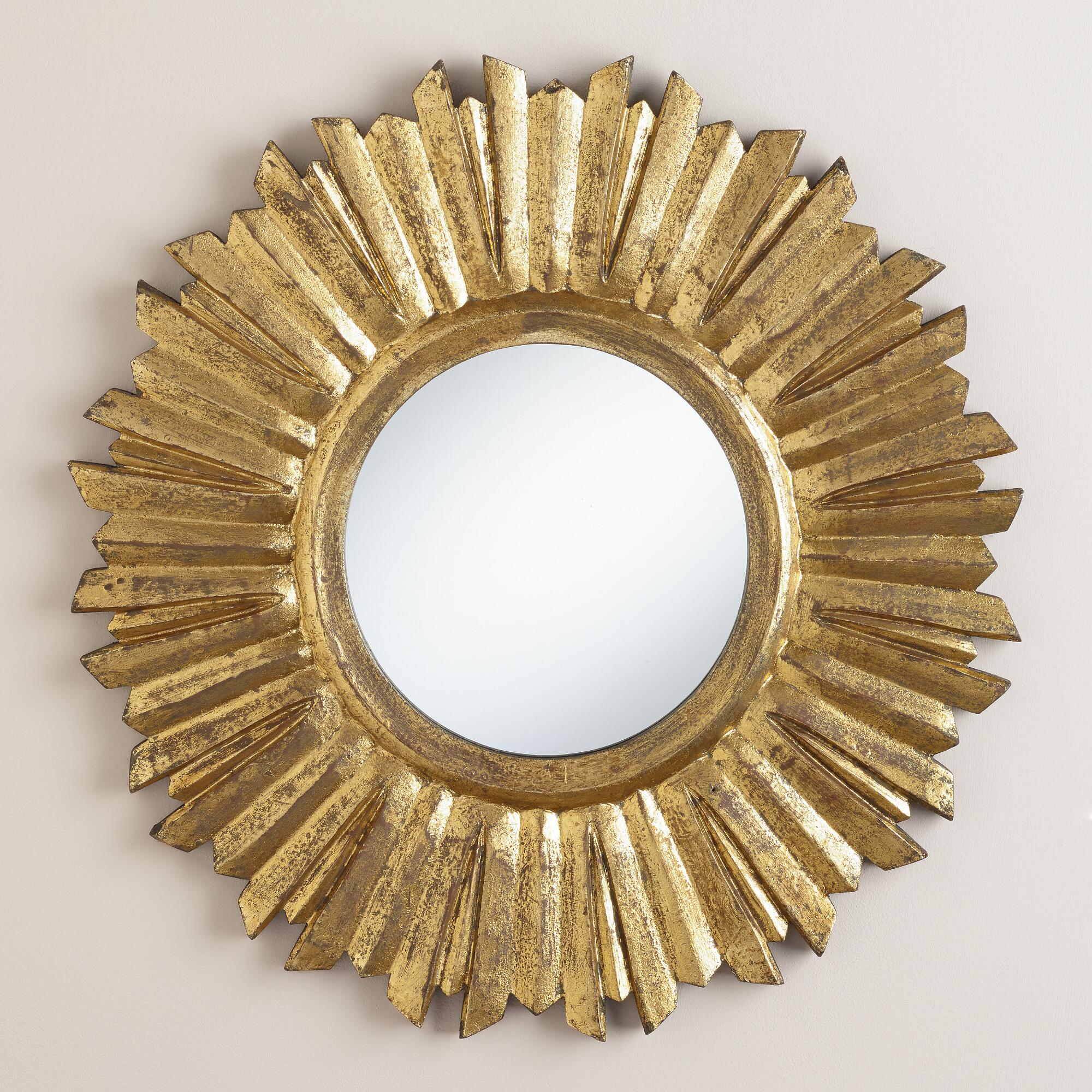 Small antique gold leila sunburst mirror world market for Decor mirror