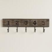 Wood Groove 5-Hook Wall Storage