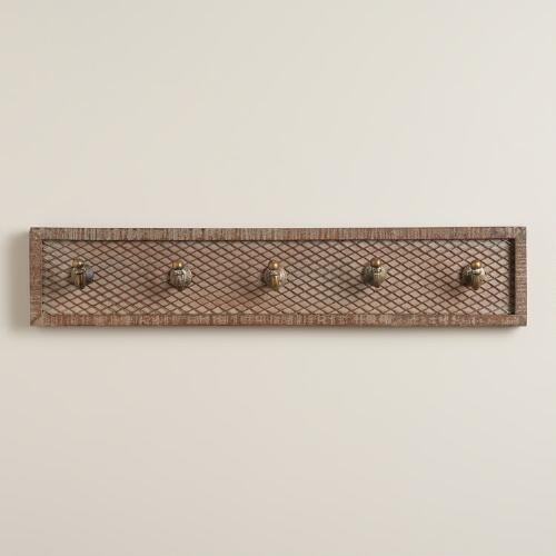 Netted Wood 5-Hook Wall Storage