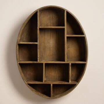 Oval Wood Kaelyn Wall Storage