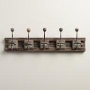 Gray 5-Hook Wood Block Wall Storage