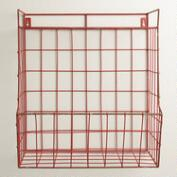 Red Braedyn Wire Wall Storage with Shelf
