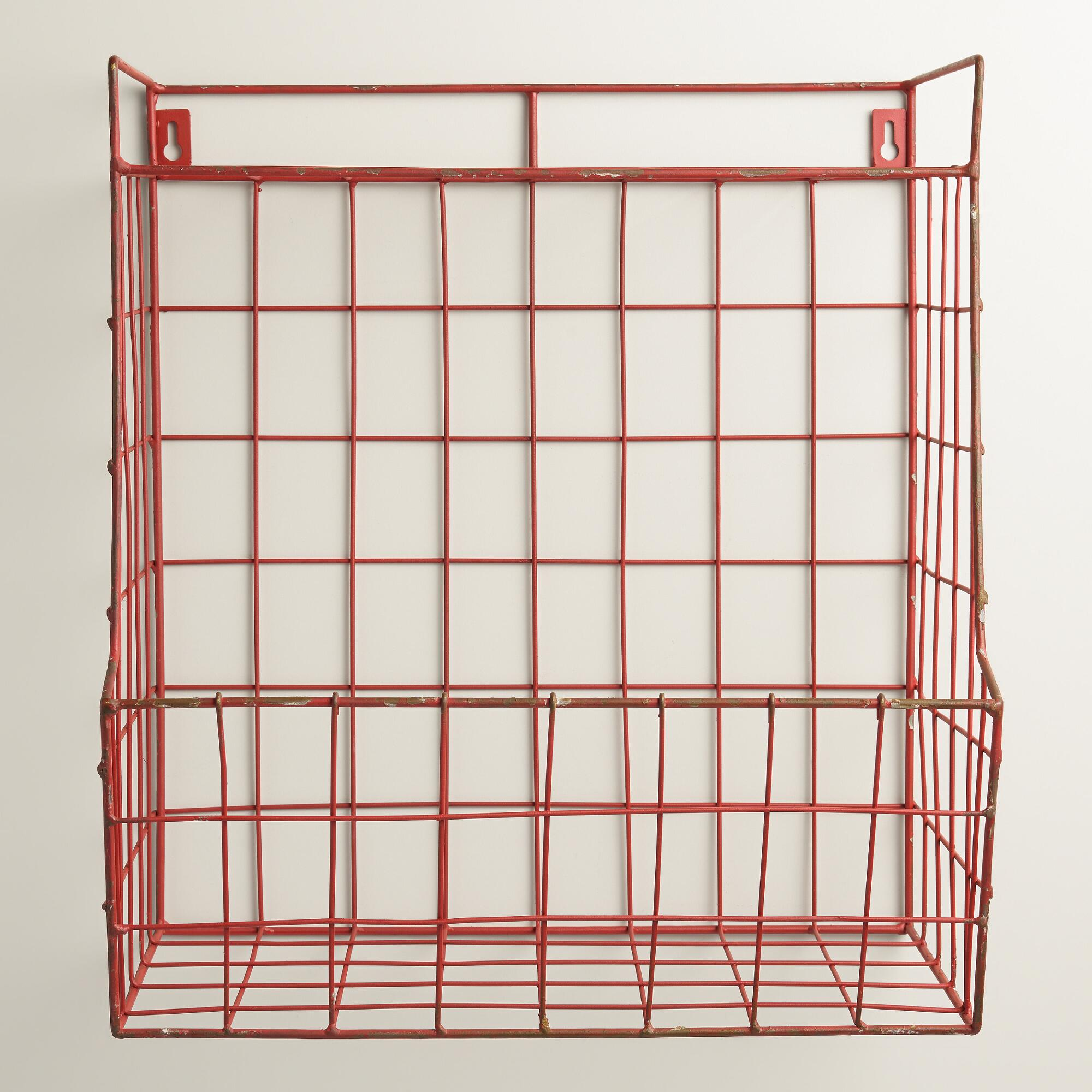 Red Braedyn Wire Wall Storage with Shelf World Market