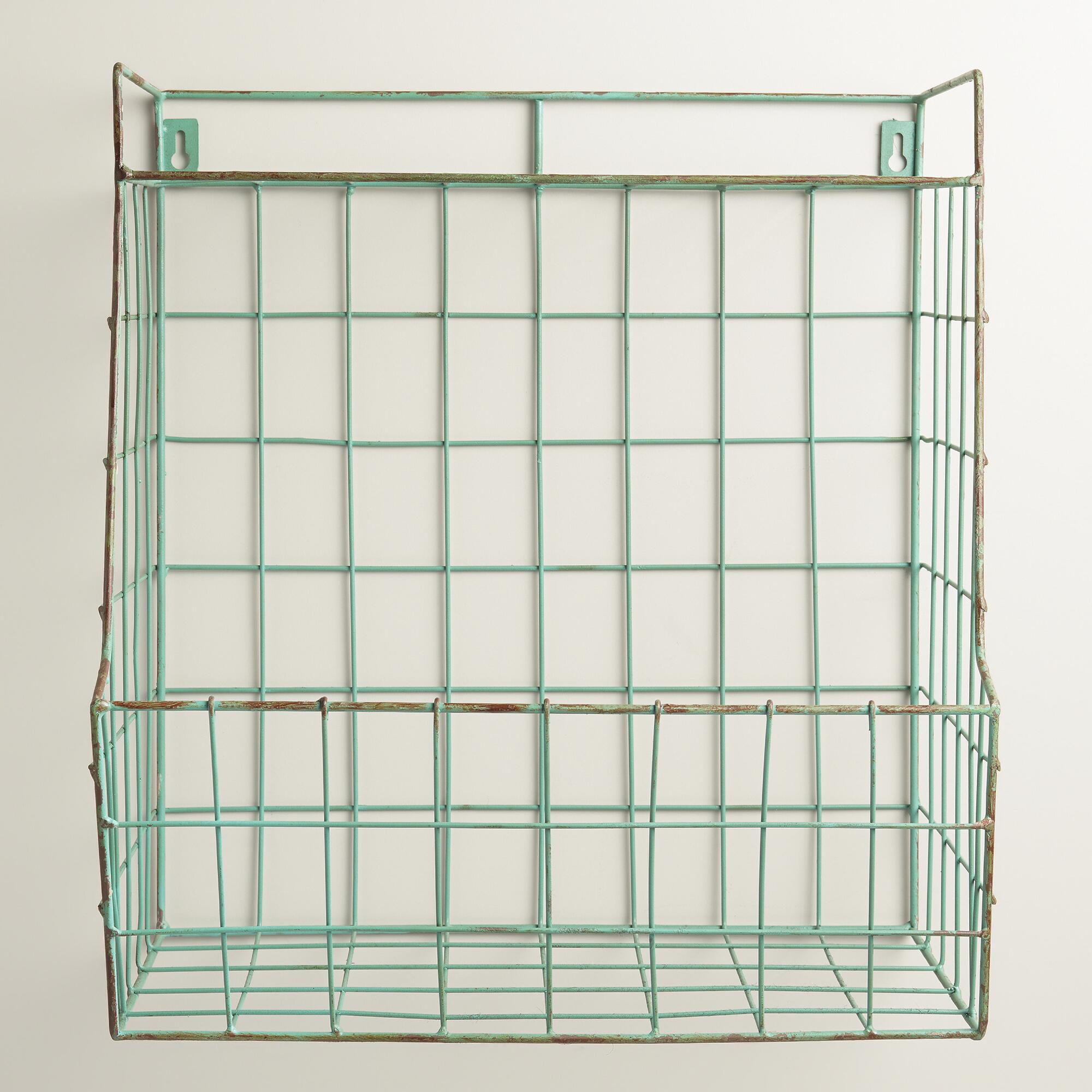 Aqua Braedyn Wire Wall Storage with Shelf World Market