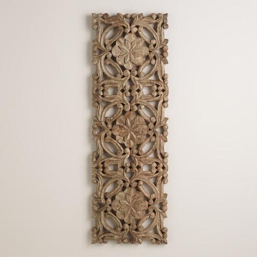 Antiqued Carved Wood Wall Decor