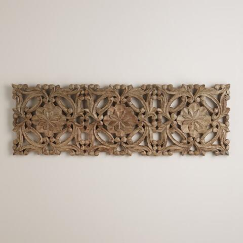 Antiqued carved wood wall decor world market for World market wall decor