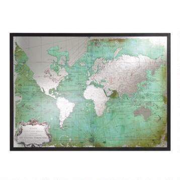 Green Mirrored World Map
