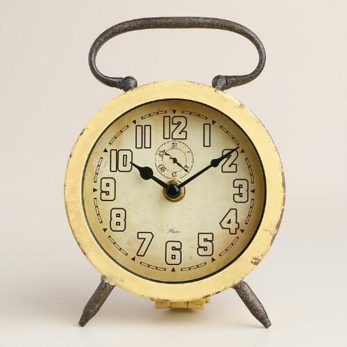 Yellow Retro Avery Desk Clock