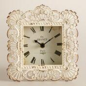 Ivory Metal Lucy Filigree Clock