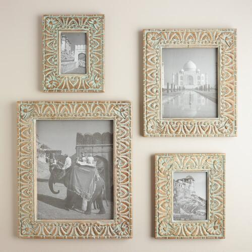 Green Carved Neelam Frame