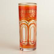 Orange Moroccan Tea Glasses, Set of 6