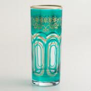 Teal Moroccan Tea Glasses, Set of 6