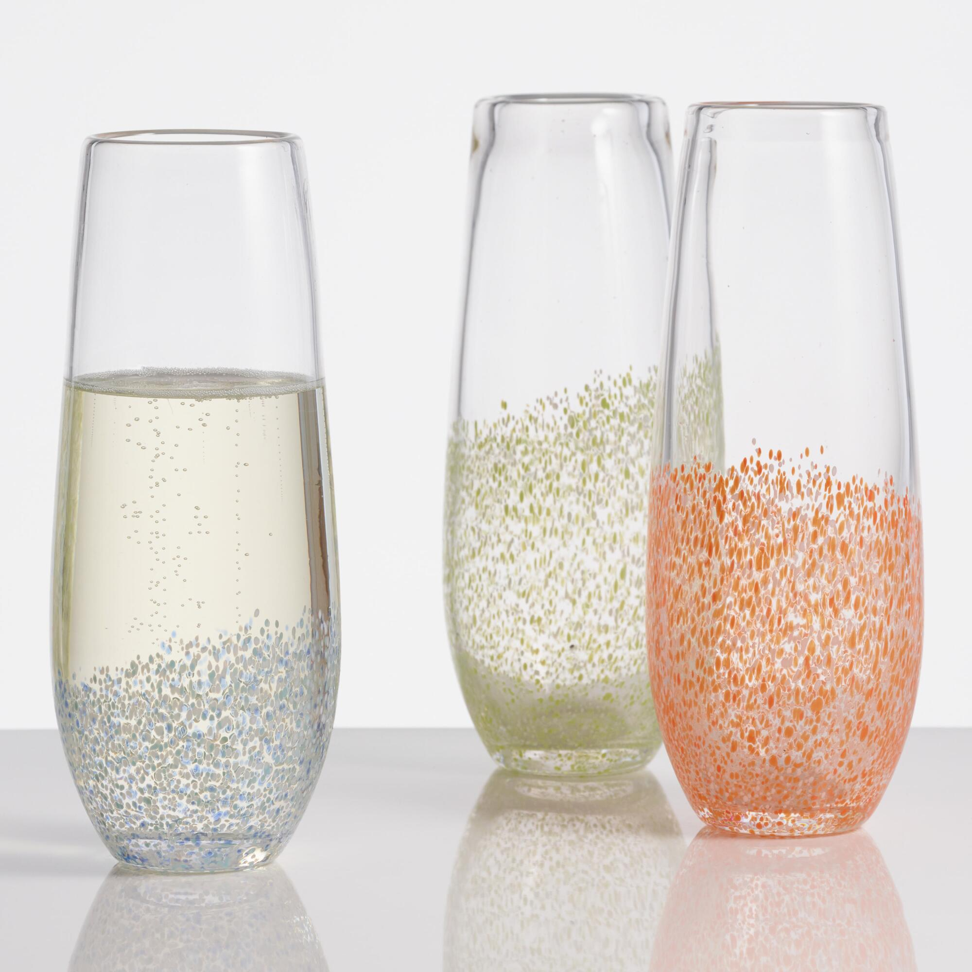 confetti stemless champagne flutes world market. Black Bedroom Furniture Sets. Home Design Ideas