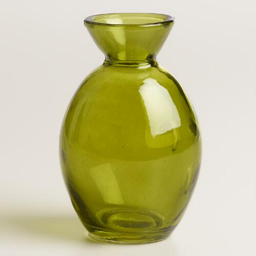 Green Glass Bud Vase, Set of 6