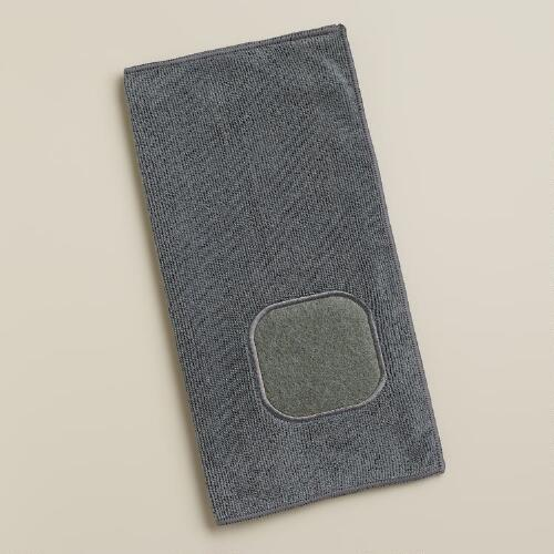 Gray Microfiber Scrubber Cleaning Cloths, 2-Pack