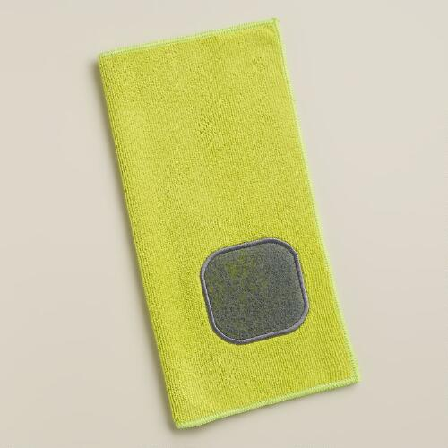 Apple Green Microfiber Scrubber Cleaning Cloths, 2-Pack