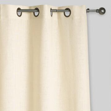 Ivory Hemp Burlap Grommet Top Curtains, Set of 2