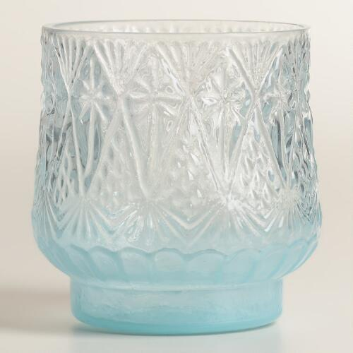Blue Opaque Glass Votive Candleholders, Set of 2