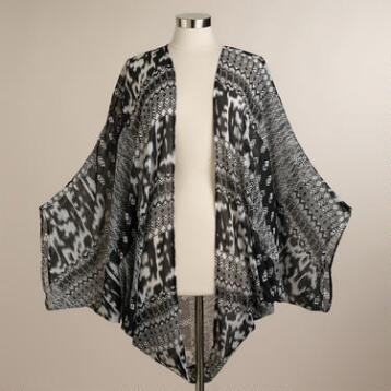 Southwestern Black and White Tribal Print Kimono Jacket