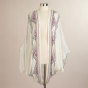 White Frayed Kimono Jacket with Embroidery