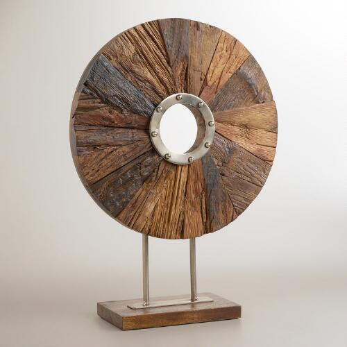 Reclaimed Wood Disc on Metal Stand